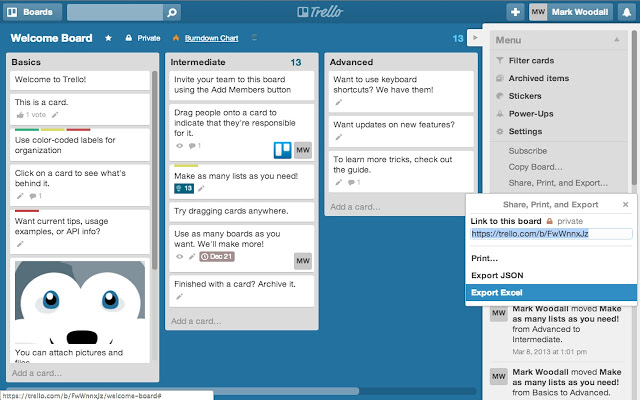 Excel export for Trello